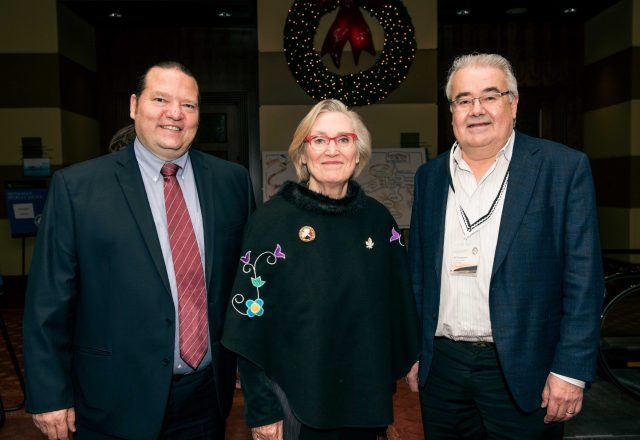 Portrait of Donald Nichols, Carolyn Bennet and Bill Namagoose