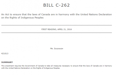 Front cover of Bill C-262